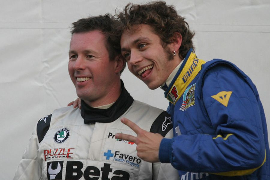 Colin McRae and Valentino Rossi at 2005 Monza Rally Show