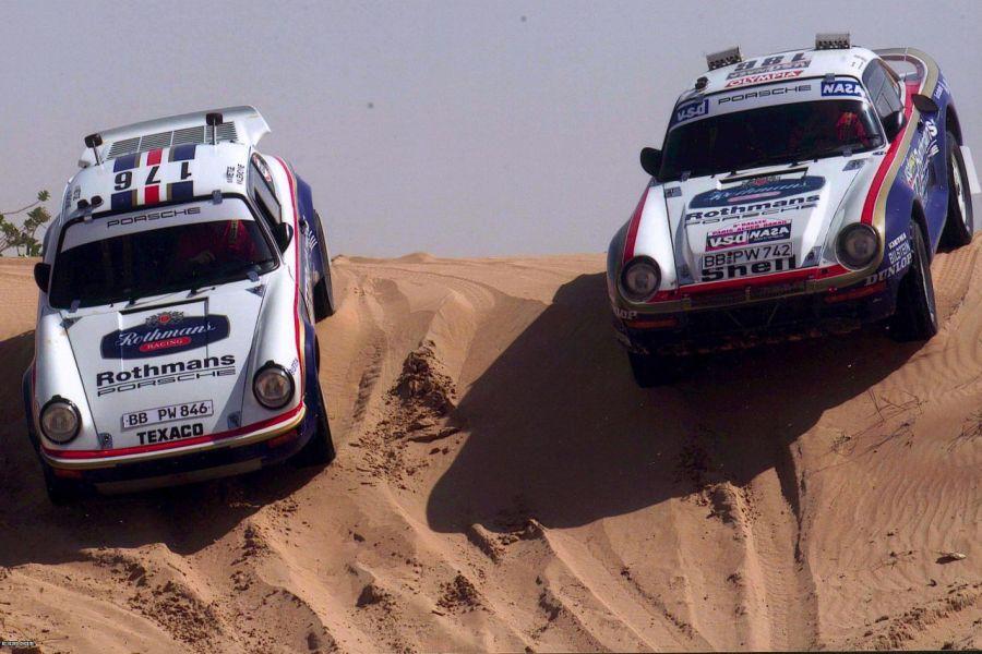 Rene Metge has won the 1986 Paris - Dakar Rally in a Porsche 959
