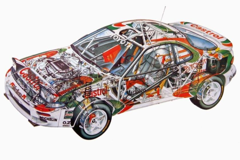 Drawn cutaway of Toyota Celica GT-4 ST185