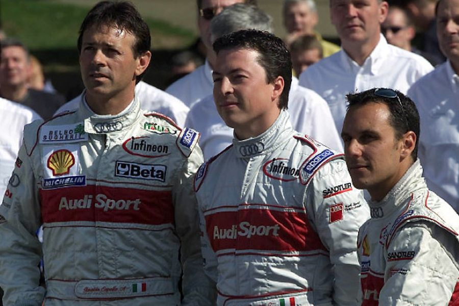 Christian Pescatori (in the middle) with Audi teammates at 2001 Le Mans