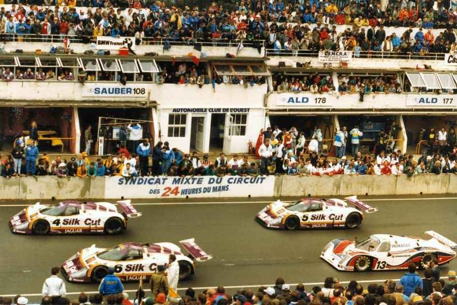Three Jaguar XJR-8s at 1987 Le Mans race