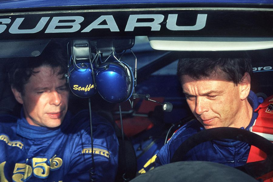 Kenneth Eriksson and Staffan Parmander in the Impreza WRC 97
