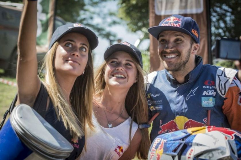 Sam Sunderland (GBR) of Red Bull KTM Factory Team seen posing for selfie with Wings after stage 11 of Rally Dakar 2017 from San Juan to Rio Cuarto, Argentina on January 13, 2017.