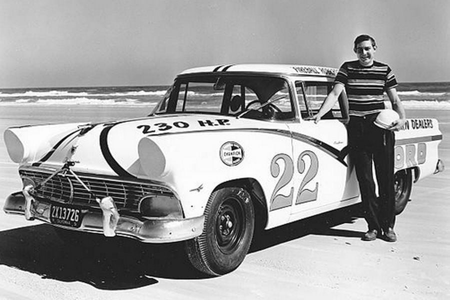 Fireball Roberts next to his #22 Ford in 1956