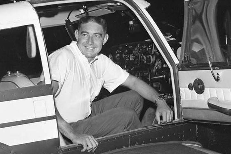 Fireball Roberts pictured in 1963 in his private plane