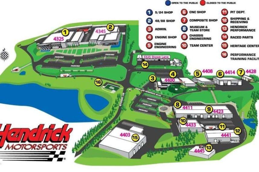 Map of Hendrick Motorsports complex in Concord, North Carolina