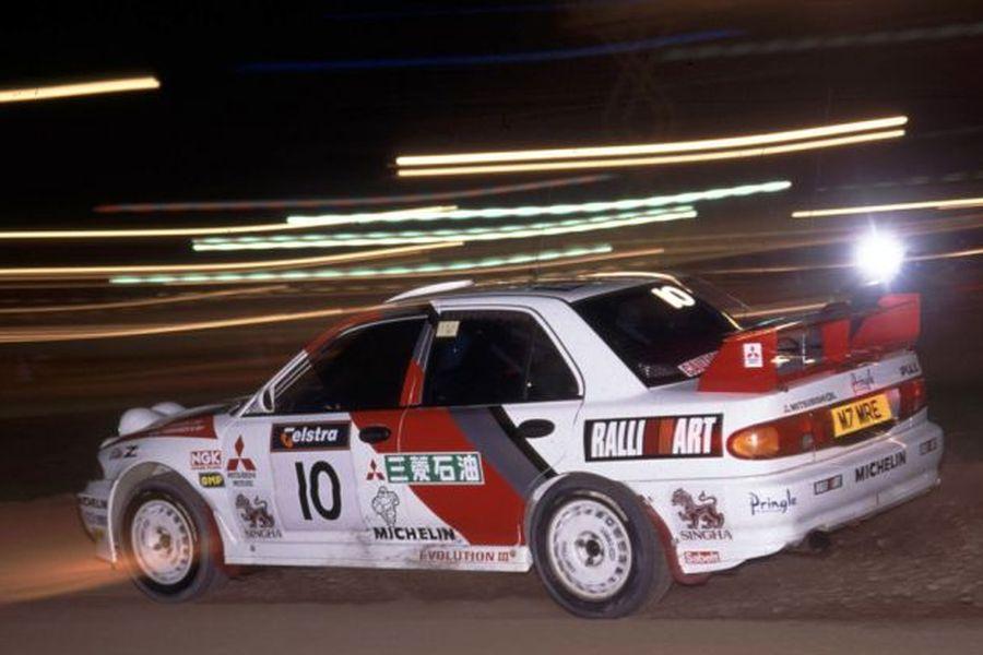 1995 Rally Australia, Kenneth Eriksson racing in Lancer Evolution III