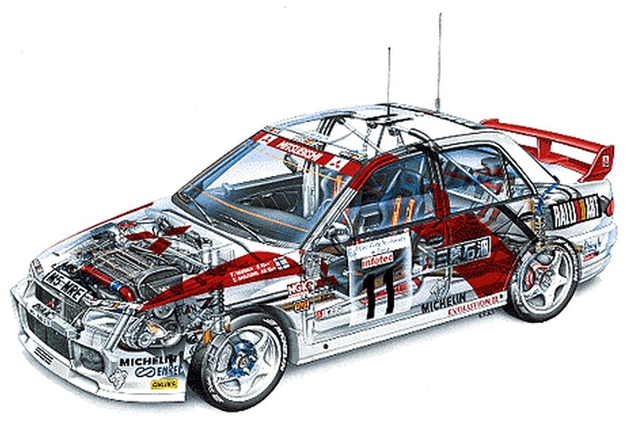 Mitsubishi Lancer Evo III cutaway