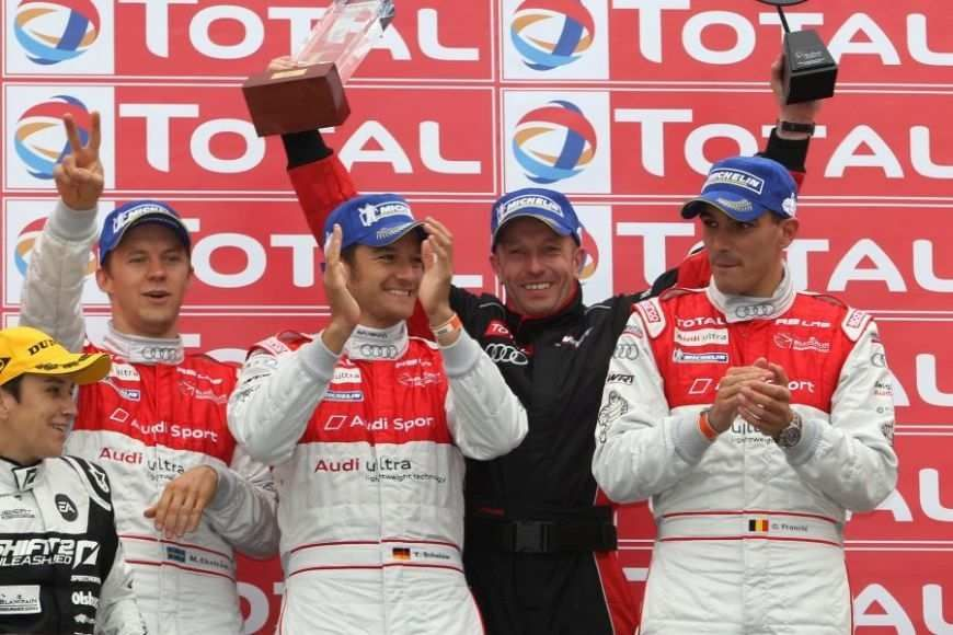 Vincent Vosse is celebratins a maiden win for his team at Spa 24 Hours