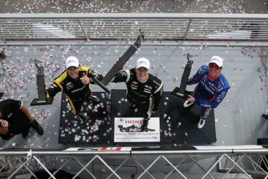 Alabama, Pagenaud, Newgarden, Dixon on a podium