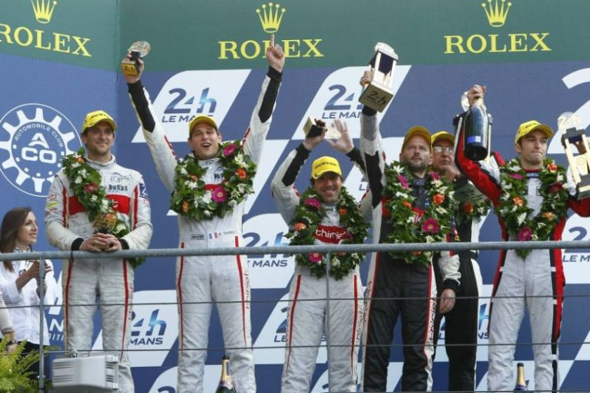 2014 Le Mans podium for Gommendy, Thiriet and Badey