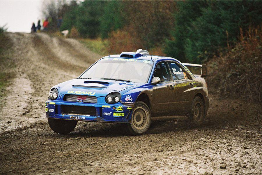Toshi Arai in a Subaru Impreza S7 WRC at 2001 Rally GB