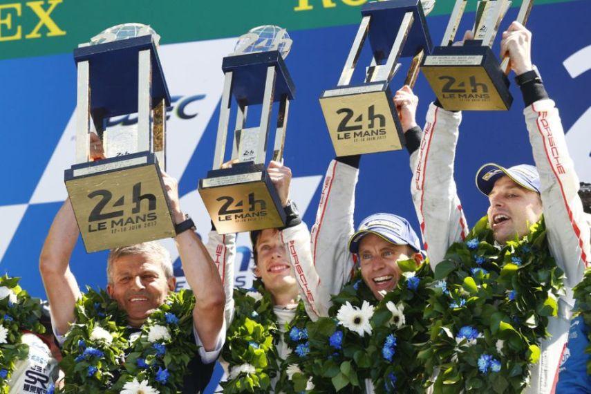 2017 24h Le Mans winners, Fritz Enzinger (Porsche Vice President LMP1), Porsche LMP Team: Brendon Hartley, Earl Bamber, Timo Bernhard