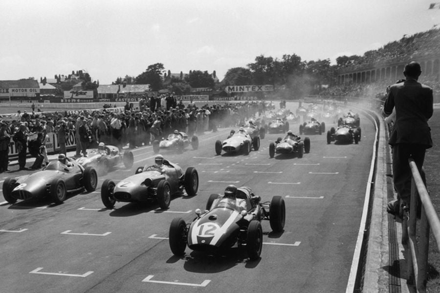 1959 British Grand Prix, Jack Brabham victory, black and white