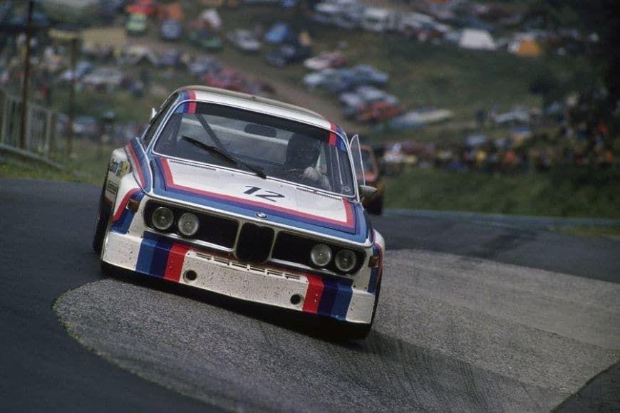 BMW 3.0 CSL racing in Nurburgring in 1973, corner