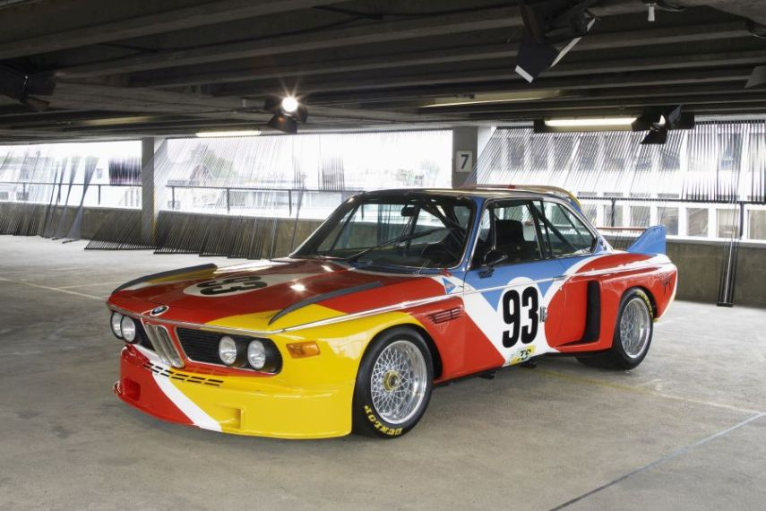 Side view of Alexander Calder's BMW 3.0 CSL art car