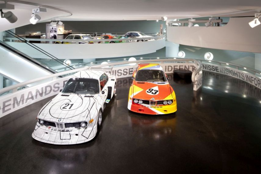 BMW Art Car exhibition at the BMW Museum, October 6, 2010 to June 30, 2011. Frank Stella, Art Car, 1976 - BMW 3.0 CSL [left] and Alexander Calder, Art Car, 1975 - BMW 3.0 CSL. (10/2010)