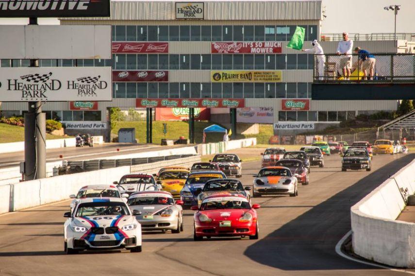 Cars racing at Heartland Park Topeka