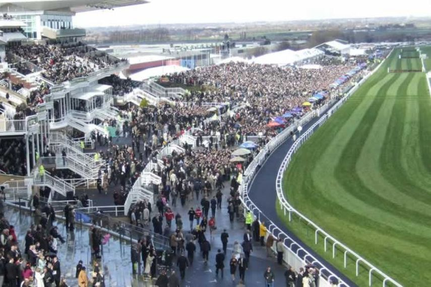 A crowd cheering, Grand National steeplechase, Aintree Racecourse