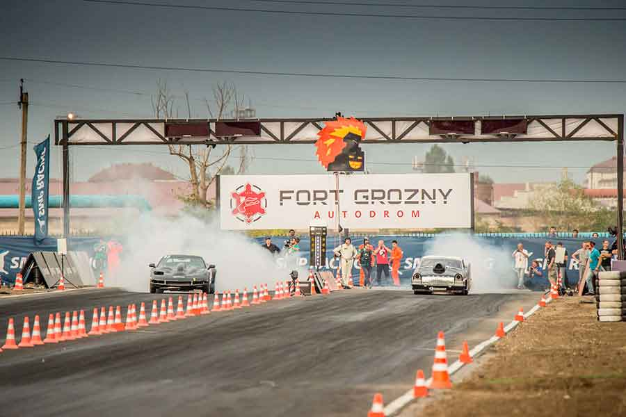 Drag race starting at Fort Grozny Autodrom