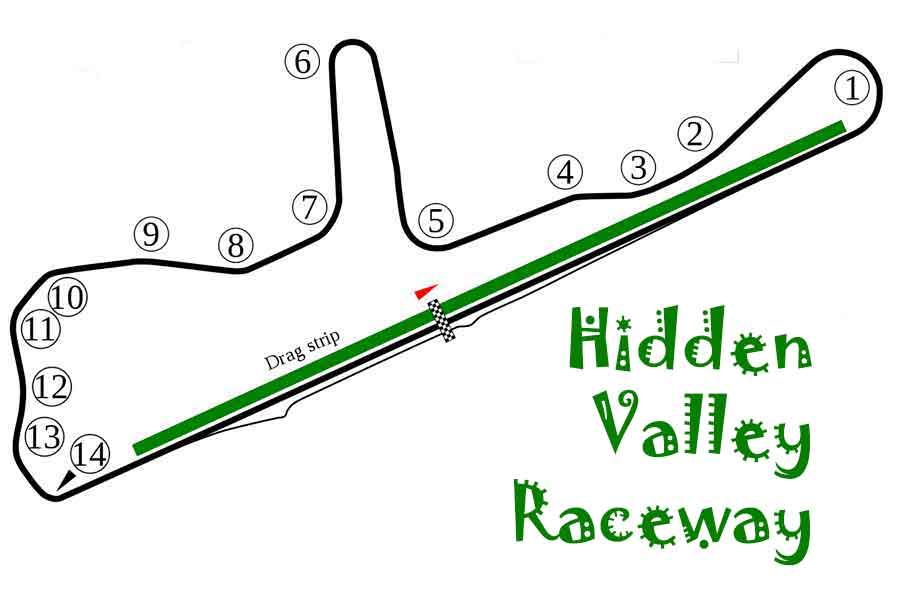 Hidden Valley Raceway map/track layout