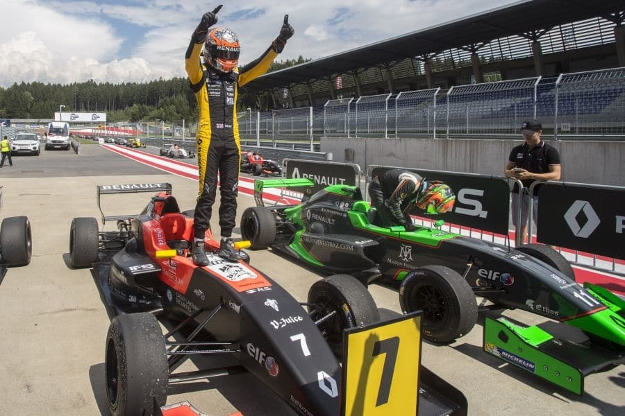 Max Fewtrell clinched his maiden Formula Renault victory at Red Bull Ring