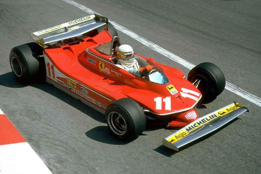 Jody Scheckter racing in Ferrari 312T4 1979