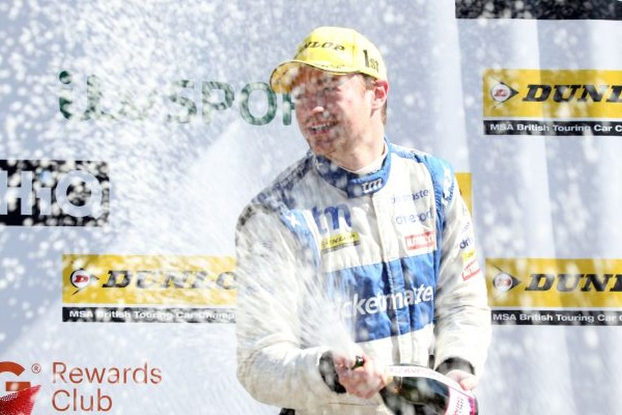 James Cole celebrates his maiden BTCC win