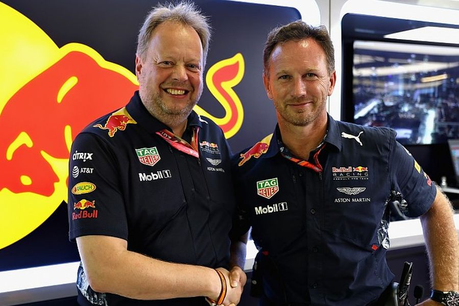 Aston Martin's Andy Palmer and Red Bull Racing's Christian Horner