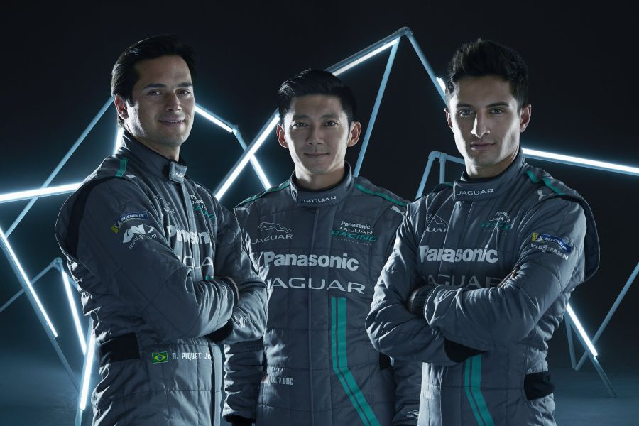 Jaguar Formula E team for season 2017/2018: Nelson Piquet Jr, Ho-Pin Tung and Mitch Evans