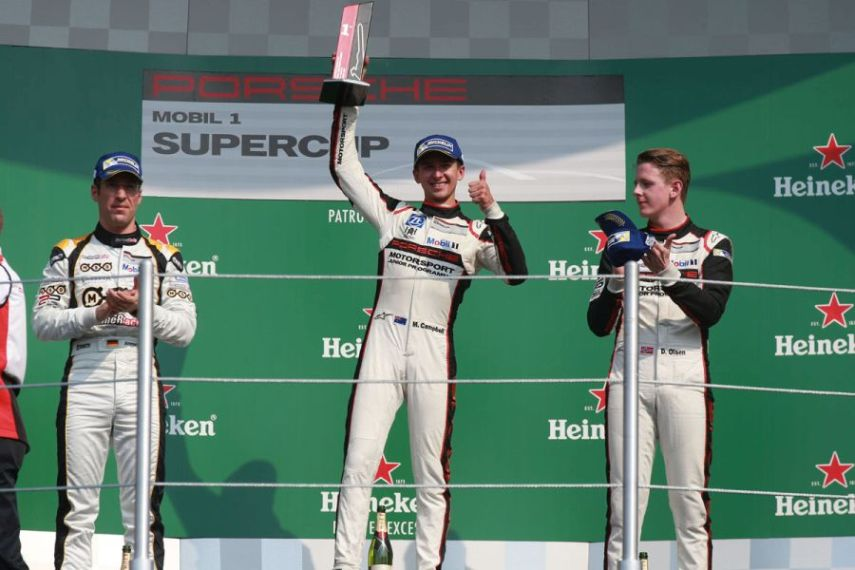 Michael Ammermüller (D), Matt Campbell (AUS), Dennis Olsen (N), Porsche Mobil 1 Supercup Mexico 2017