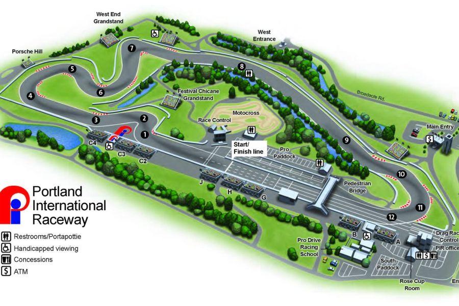 Portland International Raceway map/track layout