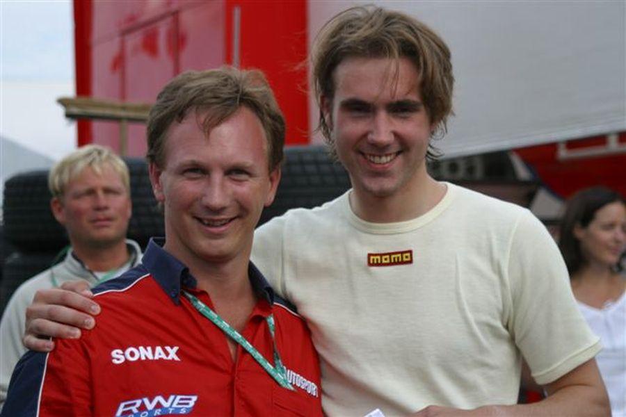 Christian Horner and Arden's driver Bjorn Wirdheim, 2003