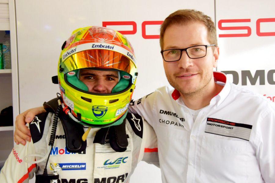 Pietro Fittipaldi and Porshe LMP Team principal Andreas Seidl