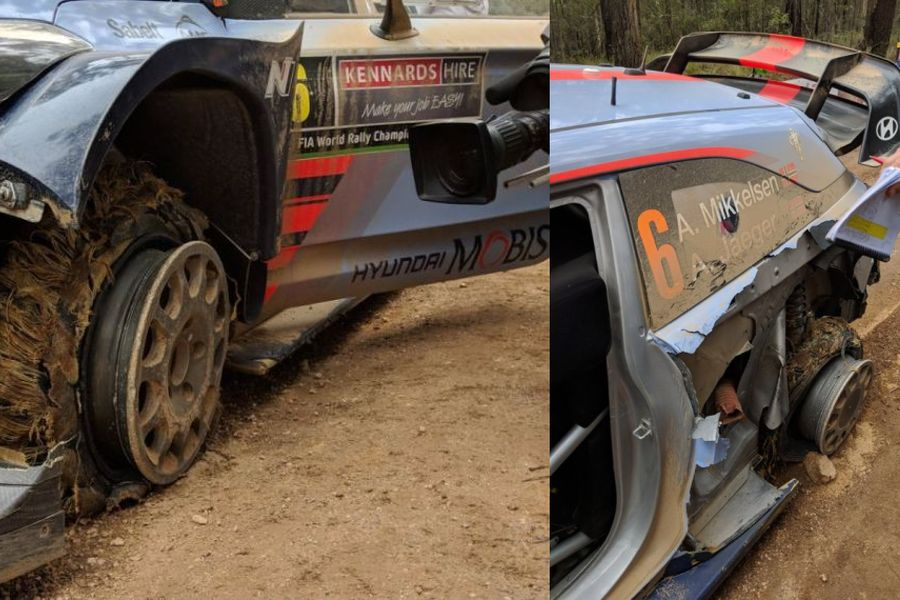 Rally Australia, Andreas Mikkelsen double puncture