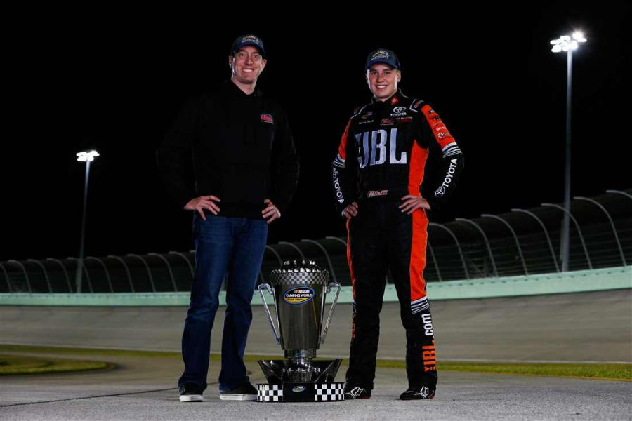 Christopher Bell and team owner Kyle Busch
