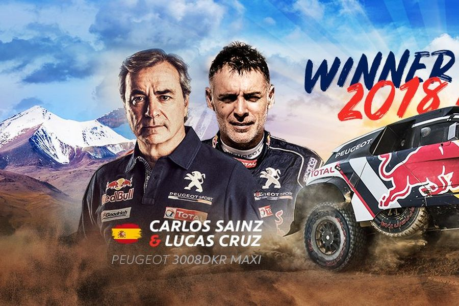 Carlos Sainz and Lucas Cruz, 2018 Dakar Rally winners