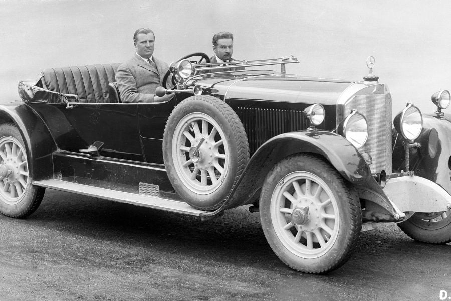 Alfred Neubauer pictured in 1925 in a Mercedes 24/100/140 PS touring car