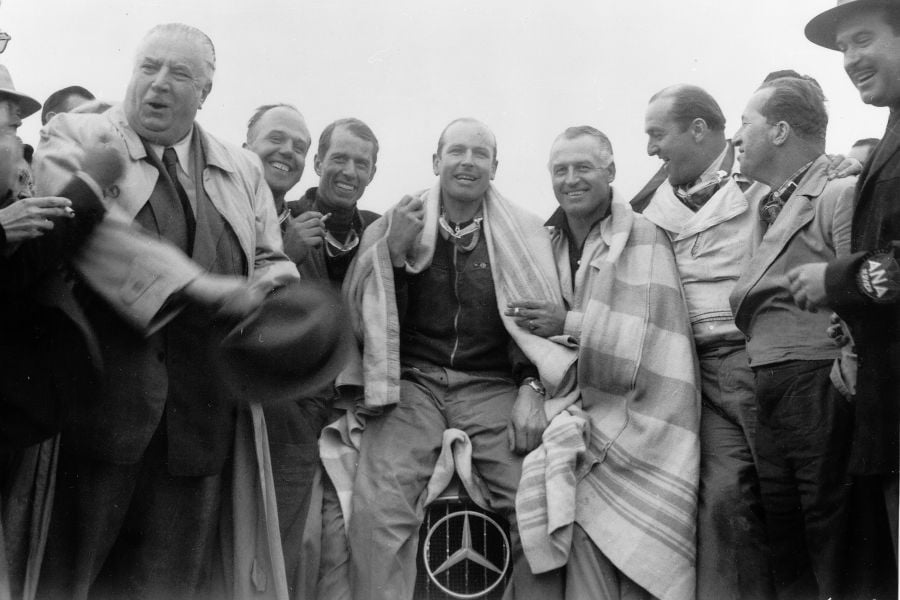 Alfred Neubauer (left) with his team at 1952 Carrera Panamericana in Mexico