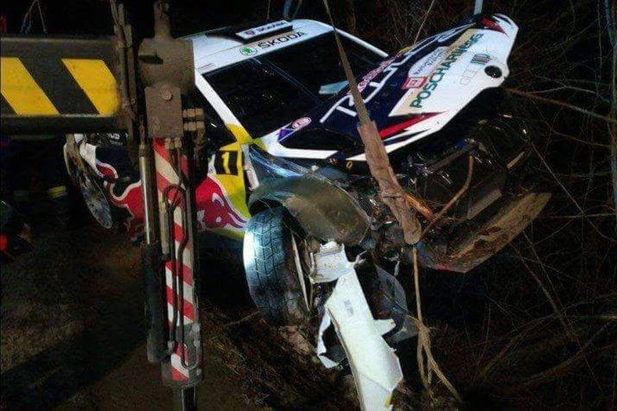 Raimund Baumschlager, 2018 Rebenland Rallye crash