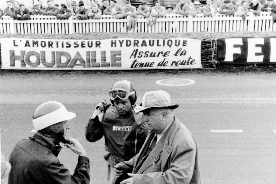 John Fitch, Pierre Levegh and Alfred Neubauer at 1955 Le Mans 24h race
