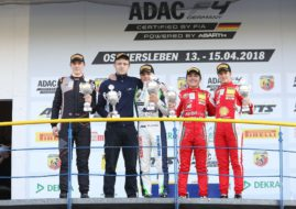 ADAC F4 podium Oschersleben, Enzo Fittipaldi (second right)