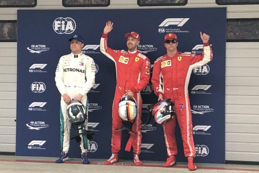 2018 Chinese Grand Prix, Three fastest qualifiers: Bottas (P3), Vettel (pole), Raikkonen (P2)