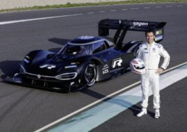 Romain Dumas and his Volkswagen I.D. R Pikes Peak at the world premiere in Alés (F)