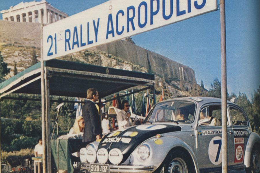 The 21st Acropolis Rally in 1973 was a part of the inaugural World Rally Championship; Harry Kallstrom VW Beetle