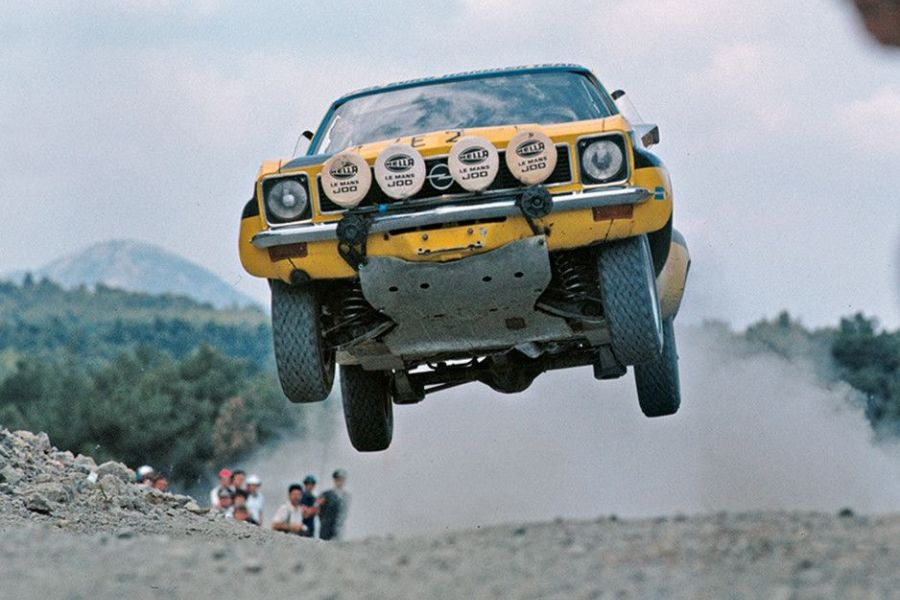 Walter Rohrl and JochenBerger were flying at 1975 Acropolis Rally in an Opel Ascona