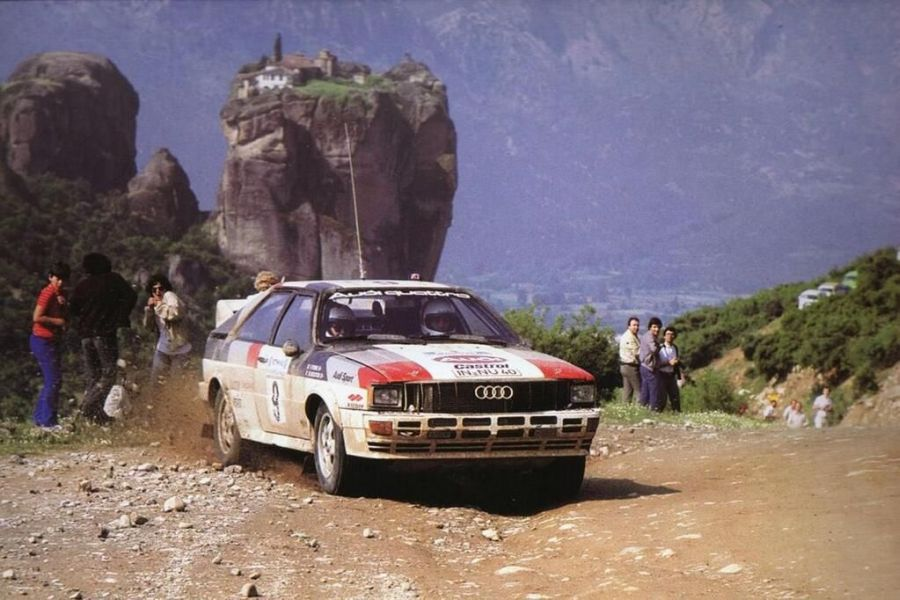 Michele Mouton was driving the #9 Audi Quattro to victory at 1982 Acropolis Rally