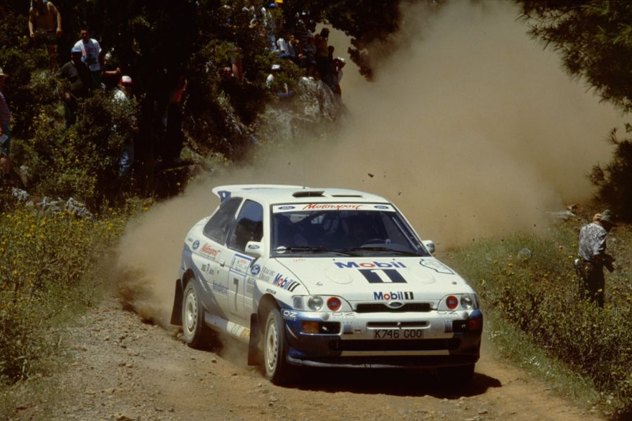 Miki Biasion in the #7 Ford Escort RS Cosworth at 1993 Rally Acropolis