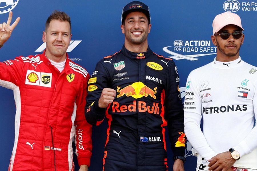 Monaco Grand Prix. Vettel, Ricciardo, Hamilton