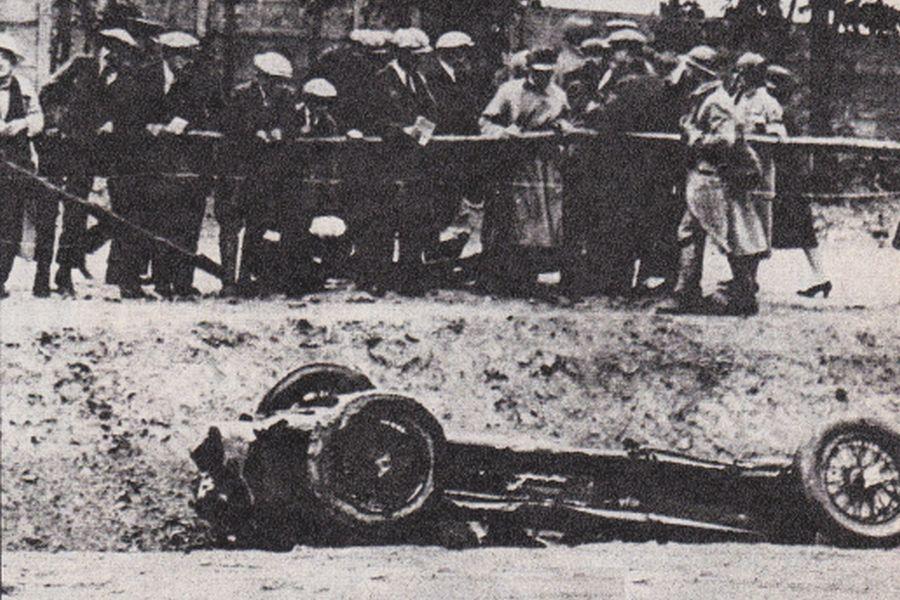 Antonio Ascari's wrecked car at 1925 French Grand Prix